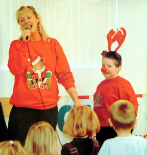 Cindy Cook and a Rudolph Volunteer at a Christmas Show